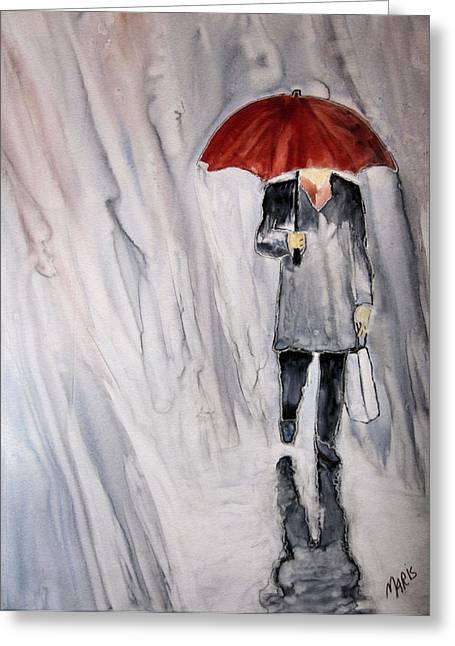 Red Umbrella Greeting Card by Maris Sherwood