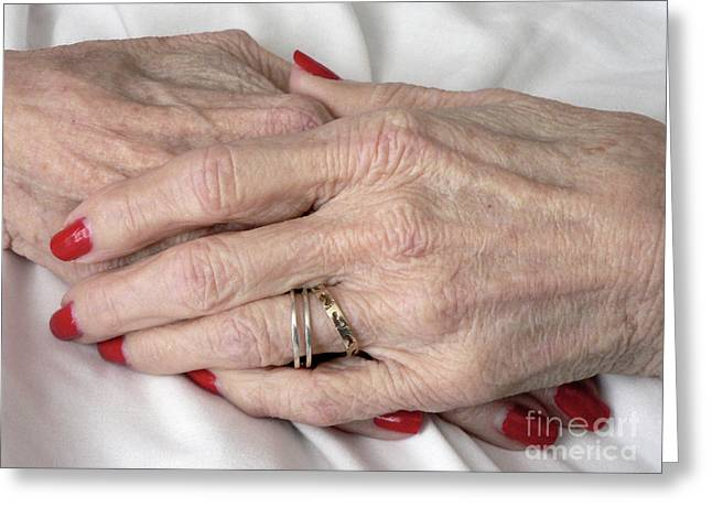 Elderly Hands Greeting Cards - Red Until The End Greeting Card by Joy Tudor