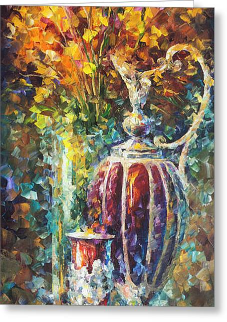 Red Vase Greeting Card by Leonid Afremov