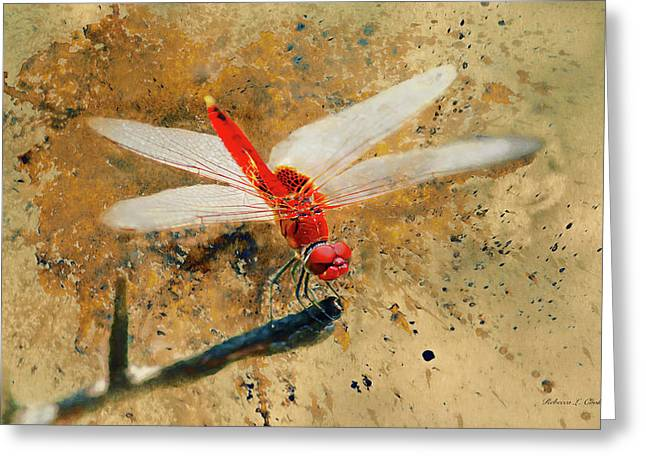 Greeting Card featuring the photograph Red Veined Darter Dragonfly by Bellesouth Studio