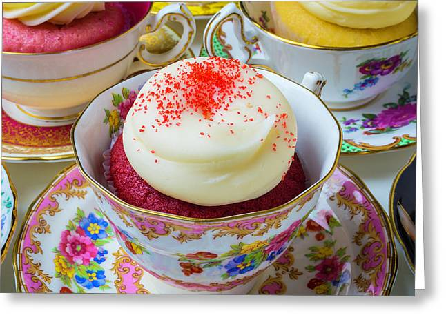 Red Velvet Cupcake In Tea Cup Greeting Card by Garry Gay
