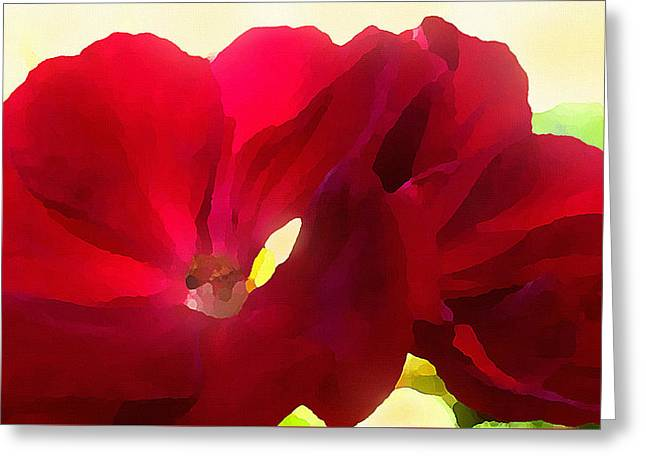 Greeting Card featuring the digital art Red Velvet Twin Geraniums  by Shelli Fitzpatrick