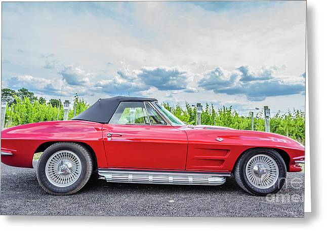 Red Vintage Corvette Sting Ray Vineyard Greeting Card by Edward Fielding
