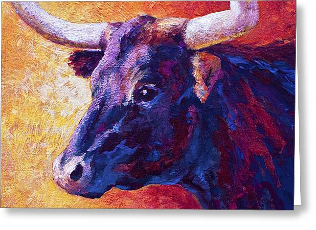 Texas Longhorn Cow Greeting Cards - Red Violet Greeting Card by Marion Rose