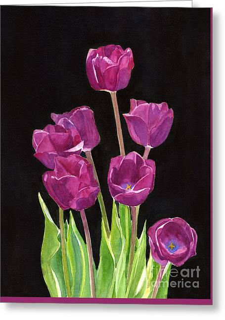 Red Violet Tulips With Black Background Greeting Card by Sharon Freeman