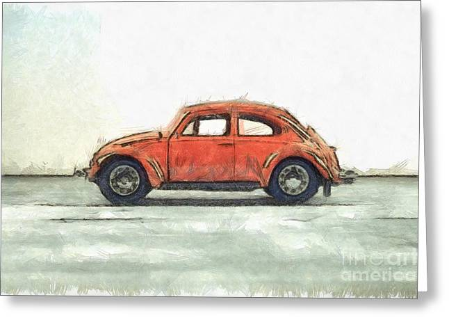 Red Vw Beetle Bug Pencil Greeting Card