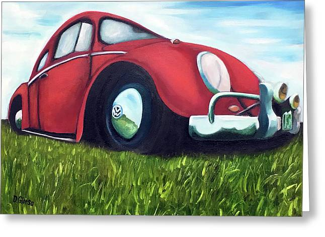 Red Vw Greeting Card