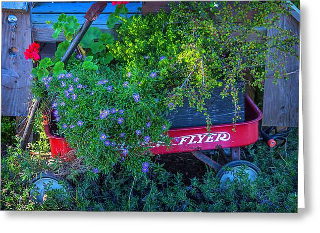 Red Wagon In The Garden Greeting Card