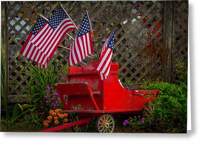 Red Wagon With Flags Greeting Card by Garry Gay