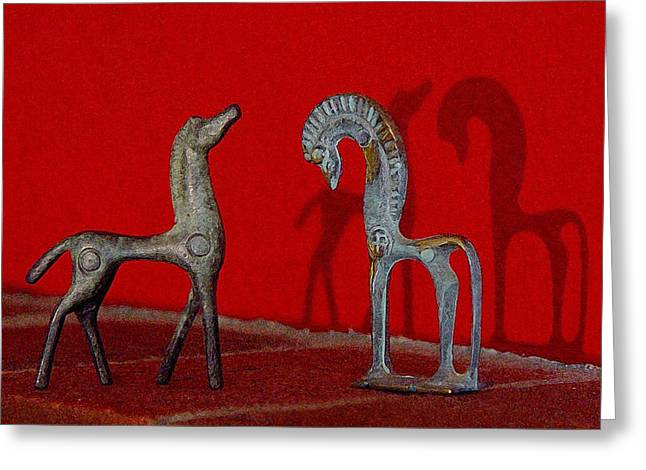 Red Wall Horse Statues Greeting Card