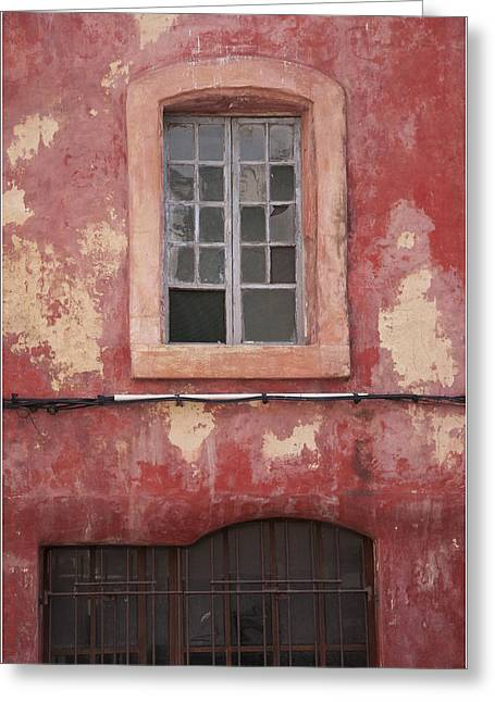Red Wall In Isle Sur La Sorgue Greeting Card