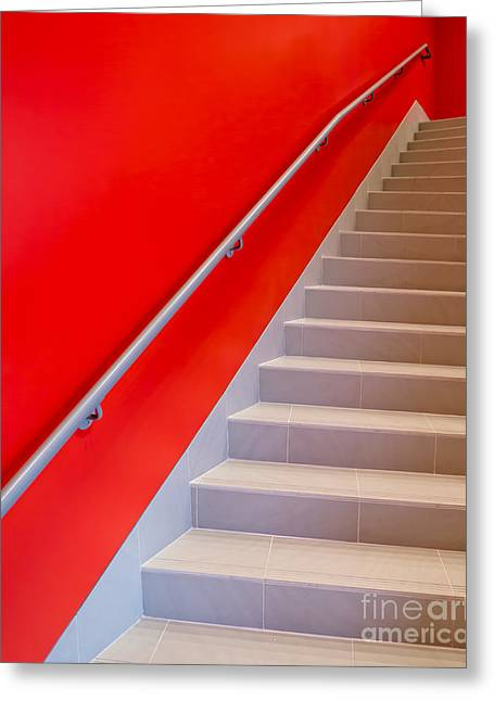 Red Walls Staircase Greeting Card by Edward Fielding