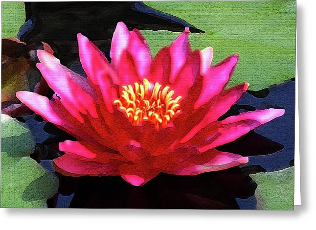 Red Water Lily - Palette Knife Greeting Card