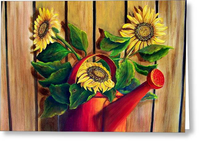 Red Watering Can With  Sunflowers.  Sold Greeting Card