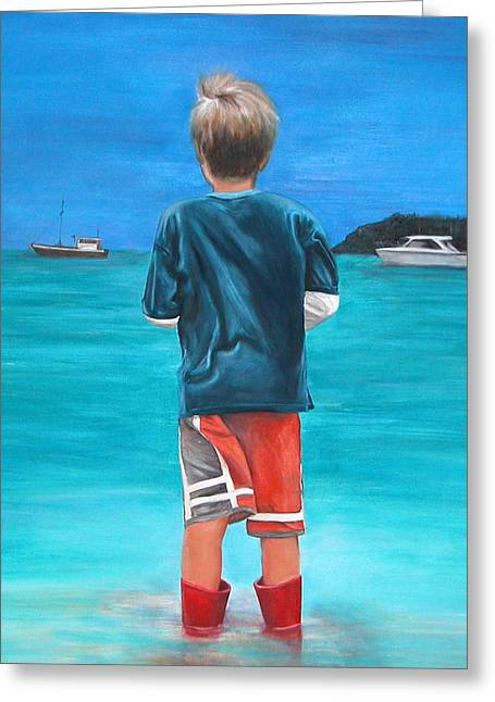Red Wellies Greeting Card by Fiona Jack