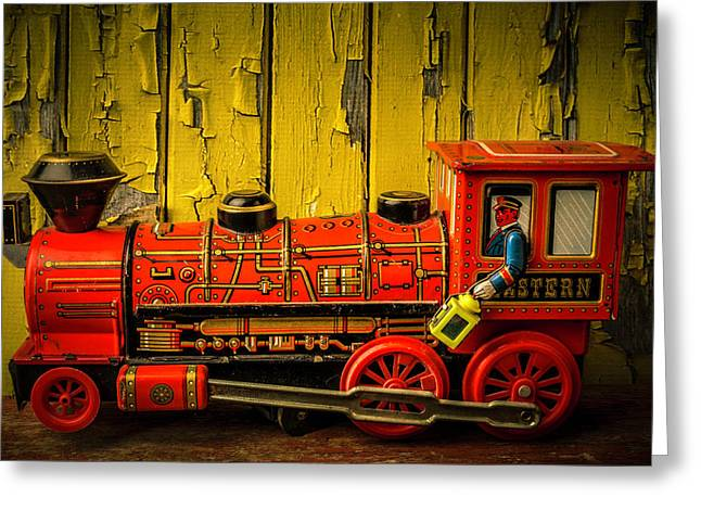 Red Western Toy Train Greeting Card by Garry Gay