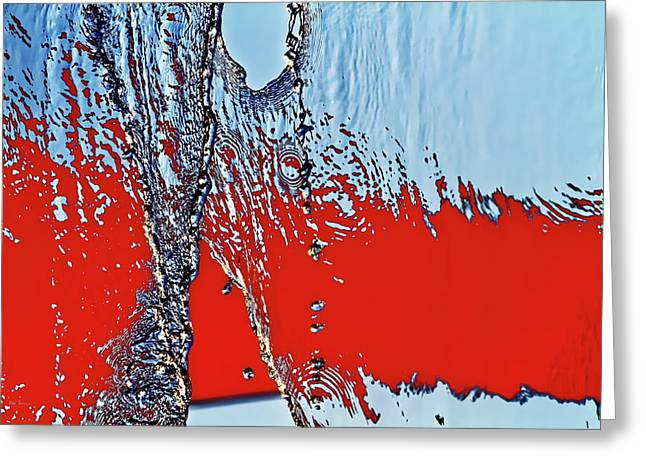 Red Wet And Blue 2  Greeting Card by Bob Orsillo