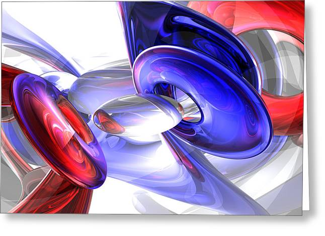 Red White And Blue Abstract Greeting Card by Alexander Butler