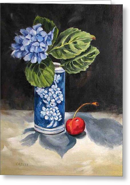 Red White And Blue Greeting Card by Cheryl Pass