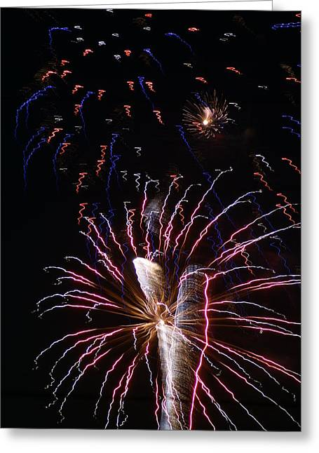 Red White And Blue Greeting Card by Heather Green