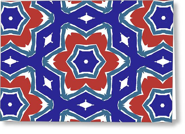 Red White And Blue Star Flowers 1- Pattern Art By Linda Woods Greeting Card by Linda Woods