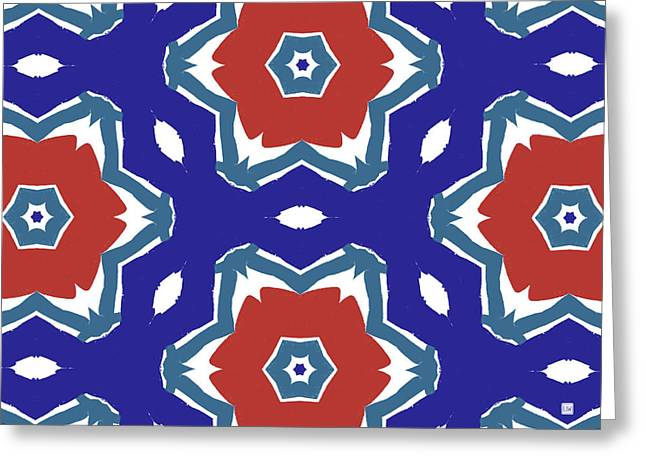 Red White And Blue Star Flowers 2 - Pattern Art By Linda Woods Greeting Card by Linda Woods