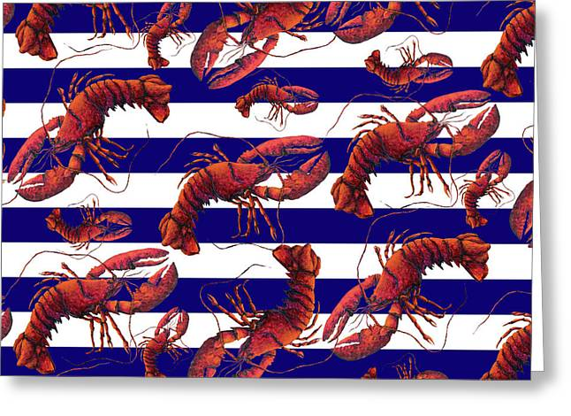 Coastal Red White And Blue Striped Lobster Pattern Design By Megan Duncanson Madart Greeting Card by Megan Duncanson