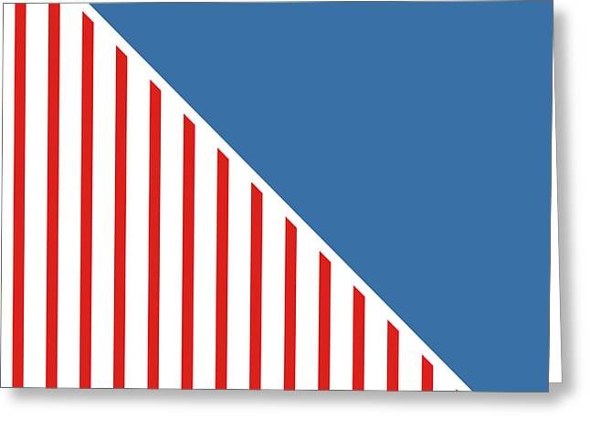 Red White And Blue Triangles Greeting Card by Linda Woods