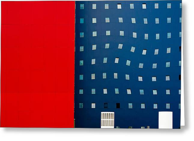 Red White And Blue Greeting Card by Wayne Pearson