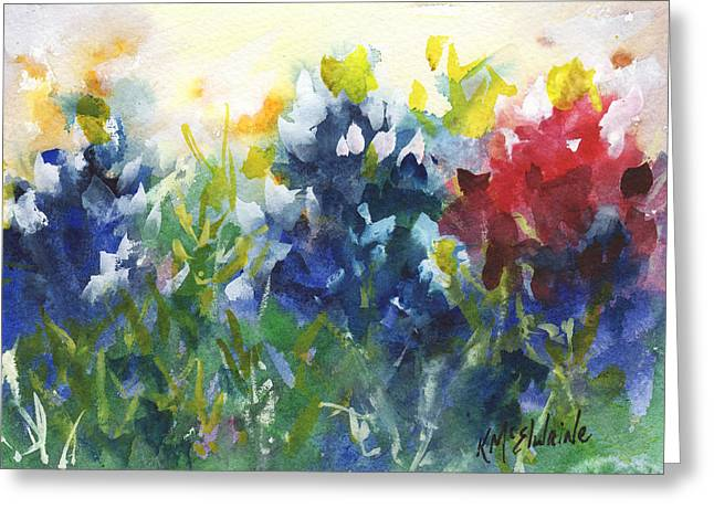 Red White And Bluebonnets Watercolor Painting By Kmcelwaine Greeting Card