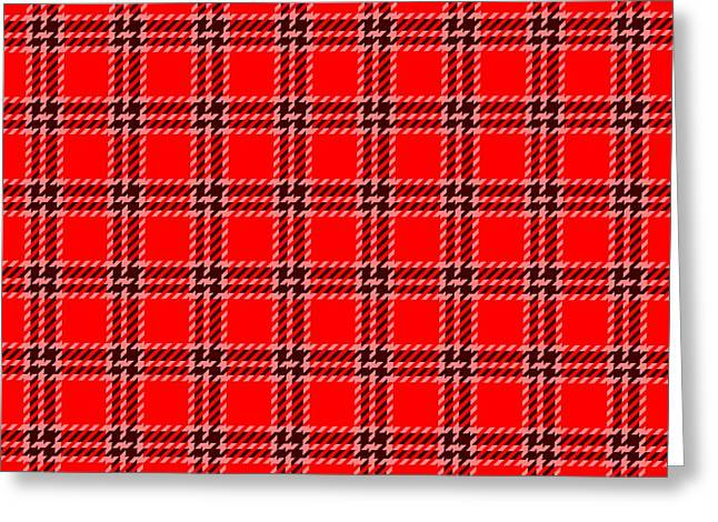 Red White Black Plaid Greeting Card by Lenka Rottova