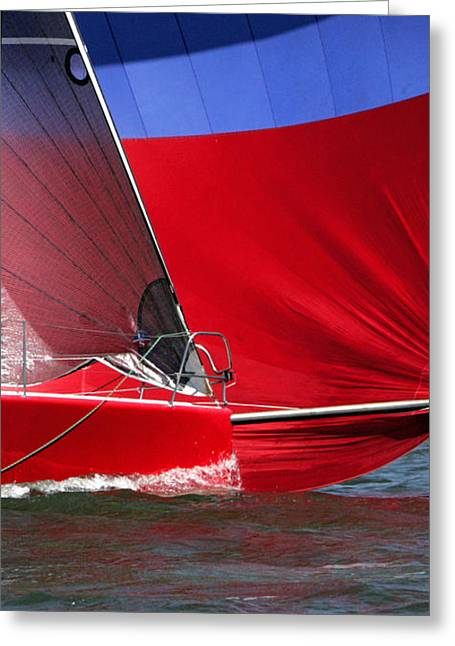 Red White Blue And Water Greeting Card by Sandy Byers