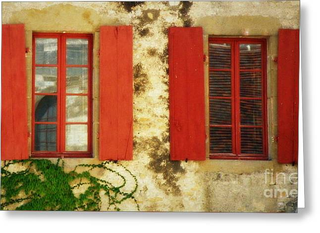 Red Windows Of Vezelay Greeting Card