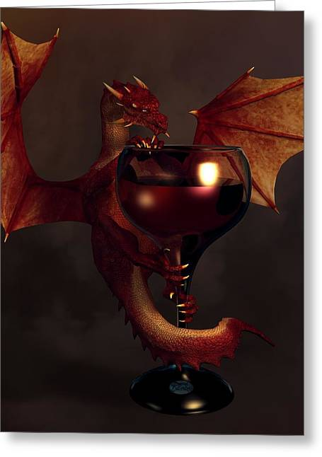 Red Wine Dragon Greeting Card by Daniel Eskridge