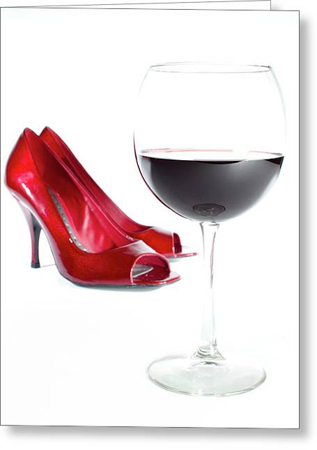 Red Shoe Greeting Cards - Red Wine Glass Red Shoes Greeting Card by Dustin K Ryan
