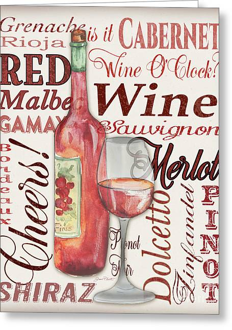 Red Wine-jp3975 Greeting Card by Jean Plout