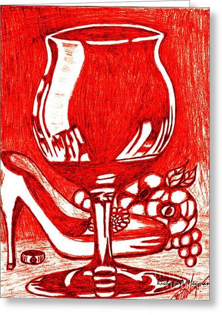 Red Wine Greeting Card by Richard Heyman