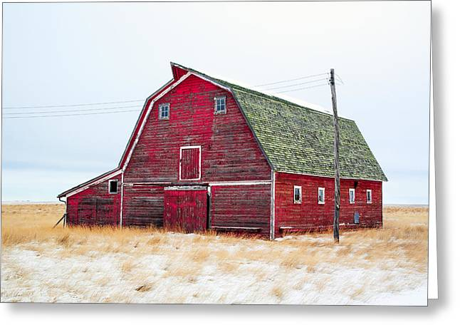 Red Winter Barn Greeting Card