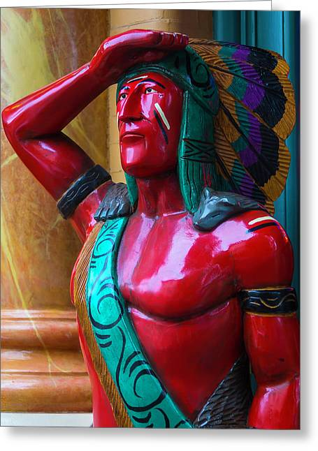Red Wooden Indian Greeting Card
