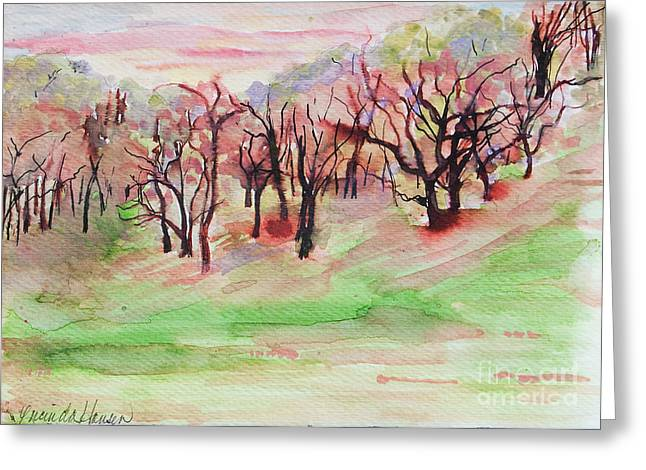 Red Woods Greeting Card by Lucinda  Hansen