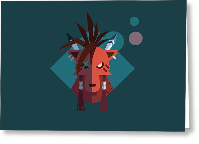 Greeting Card featuring the digital art Red Xiii by Michael Myers