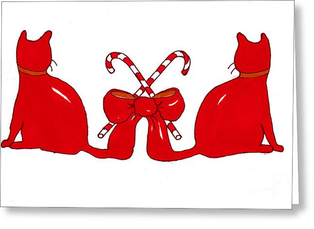 Red Xmas Ribbon Cats Greeting Card