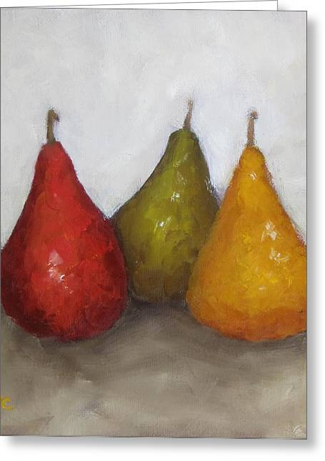 Red Yellow Green Pears Greeting Card by Patricia Cleasby