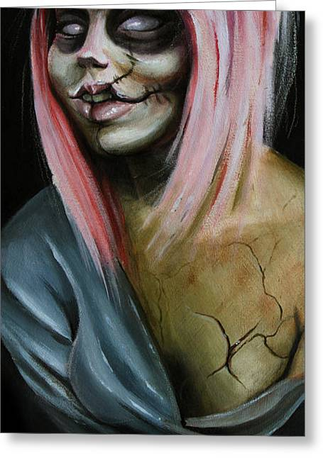 Scar Greeting Cards - Red Zombie Greeting Card by Matt Truiano