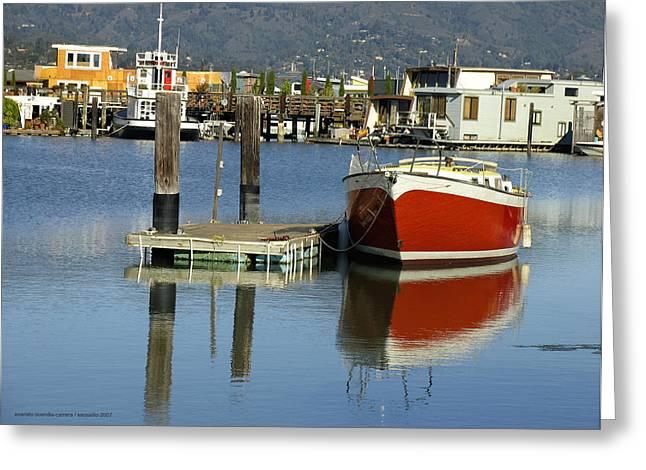 Redboat Greeting Card by Vari Buendia