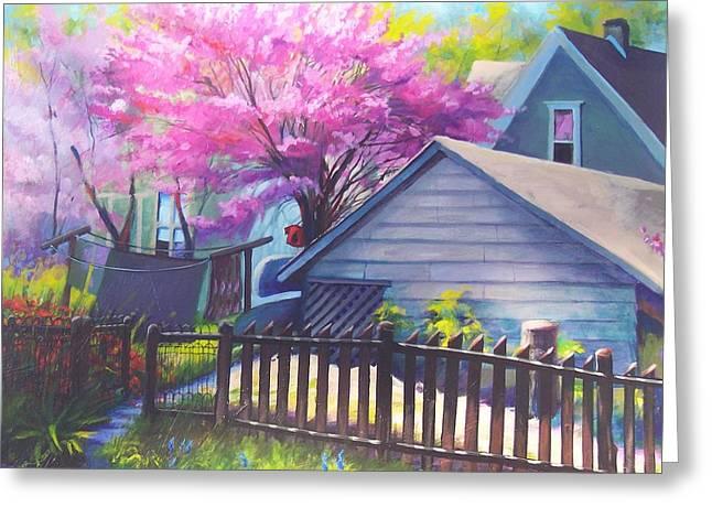 Redbud Tree In Oldtown Springtime Greeting Card by Bobbi Baltzer-Jacobo