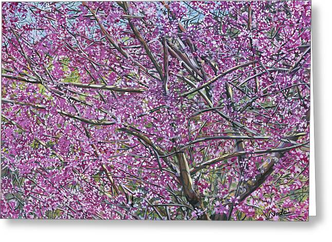 Greeting Card featuring the painting Redbud Tree by Nadi Spencer