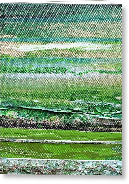 Redesdale Rhythms And Textures Series 3 Green And Gold Greeting Card by Mike   Bell
