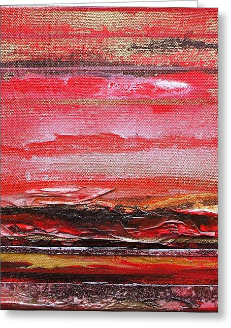 Redesdale Rhythms And  Textures Series  Red And Gold 3 Greeting Card by Mike   Bell