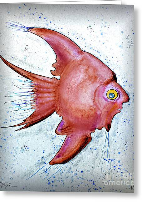Greeting Card featuring the mixed media Redfish by Walt Foegelle